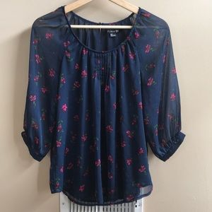 Forever 21 Chiffon Floral Pattern Blouse - S